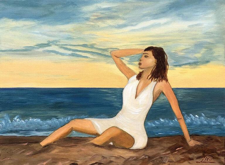 Lány a tengerparton olajfestmény